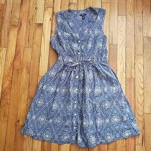 GAP  button shirt dress fit and flare tie waist